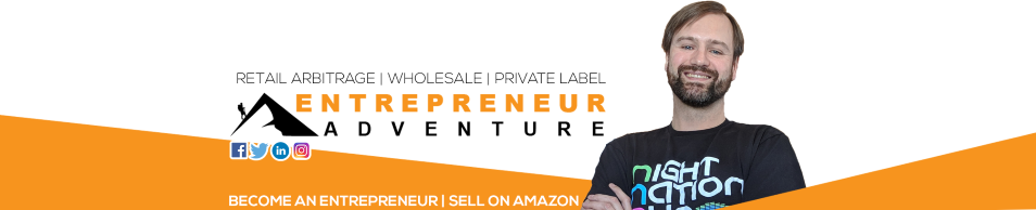 Website header logo, Become an Entrepreneur, Sell on Amazon